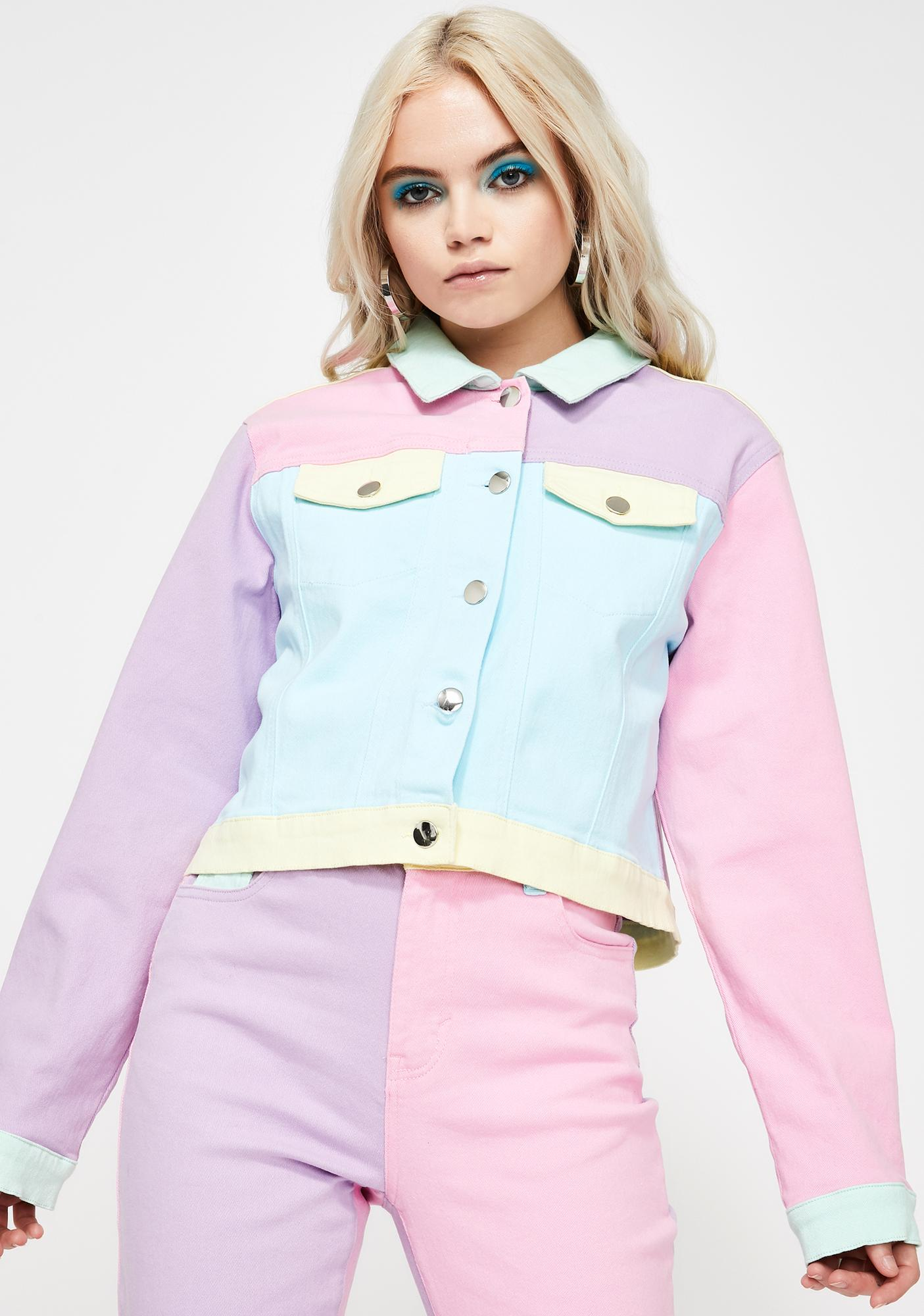Pretty In Pastel Denim Jacket by Sugar Thrillz