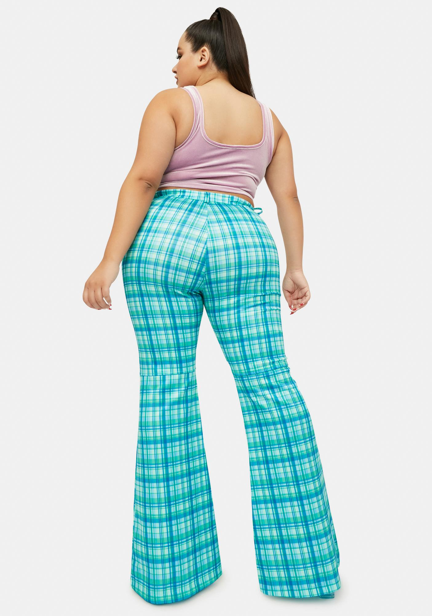 Her Wild Fusion Plaid Flared Pants