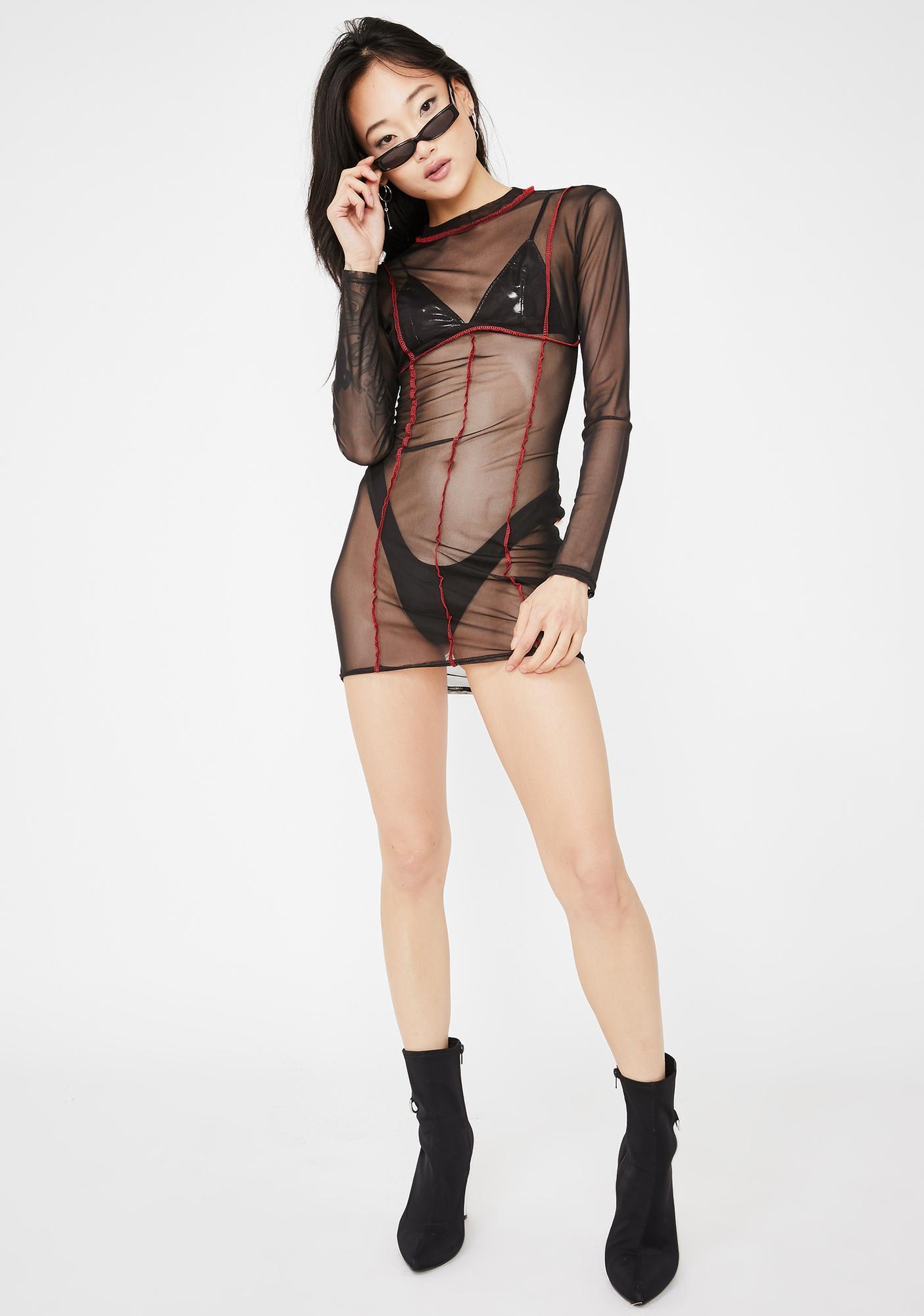 Public Desire Black Contrast Stitch Mesh Mini Dress