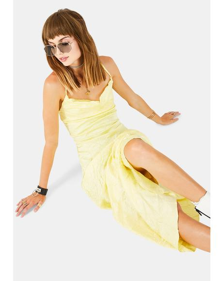 Lemon Crinkle Satin Dress