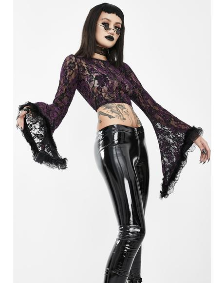 Purple Lace Bell Sleeve Crop Top