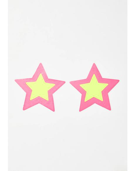 Double Starburst Neon Black Light Star Pasties