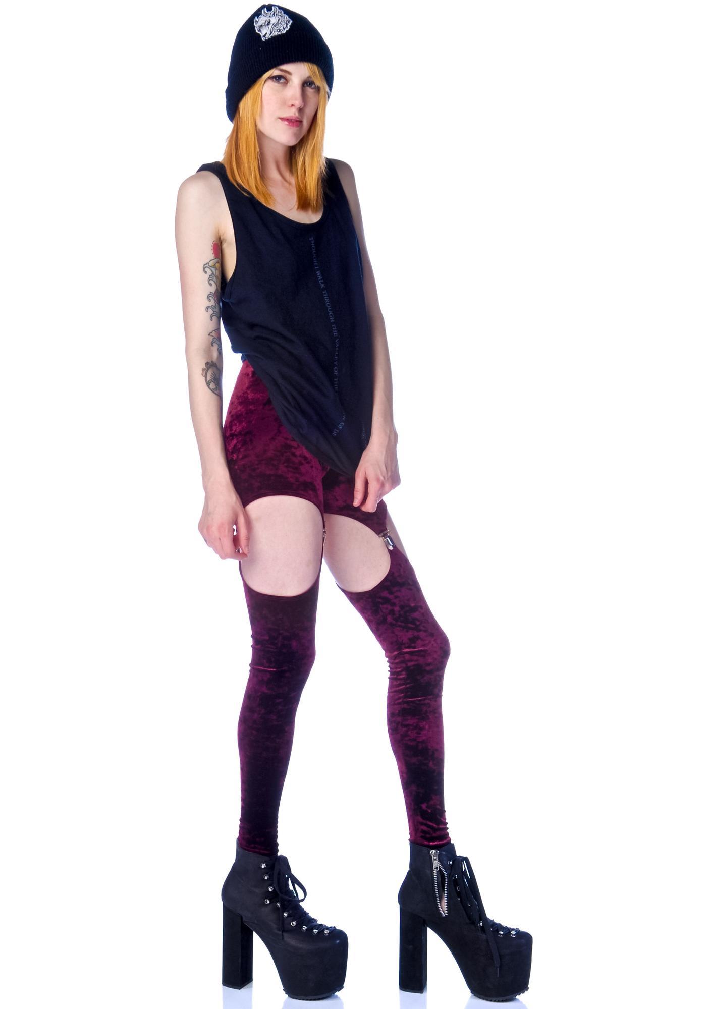 Widow Crushed Velvet Garter Leggings