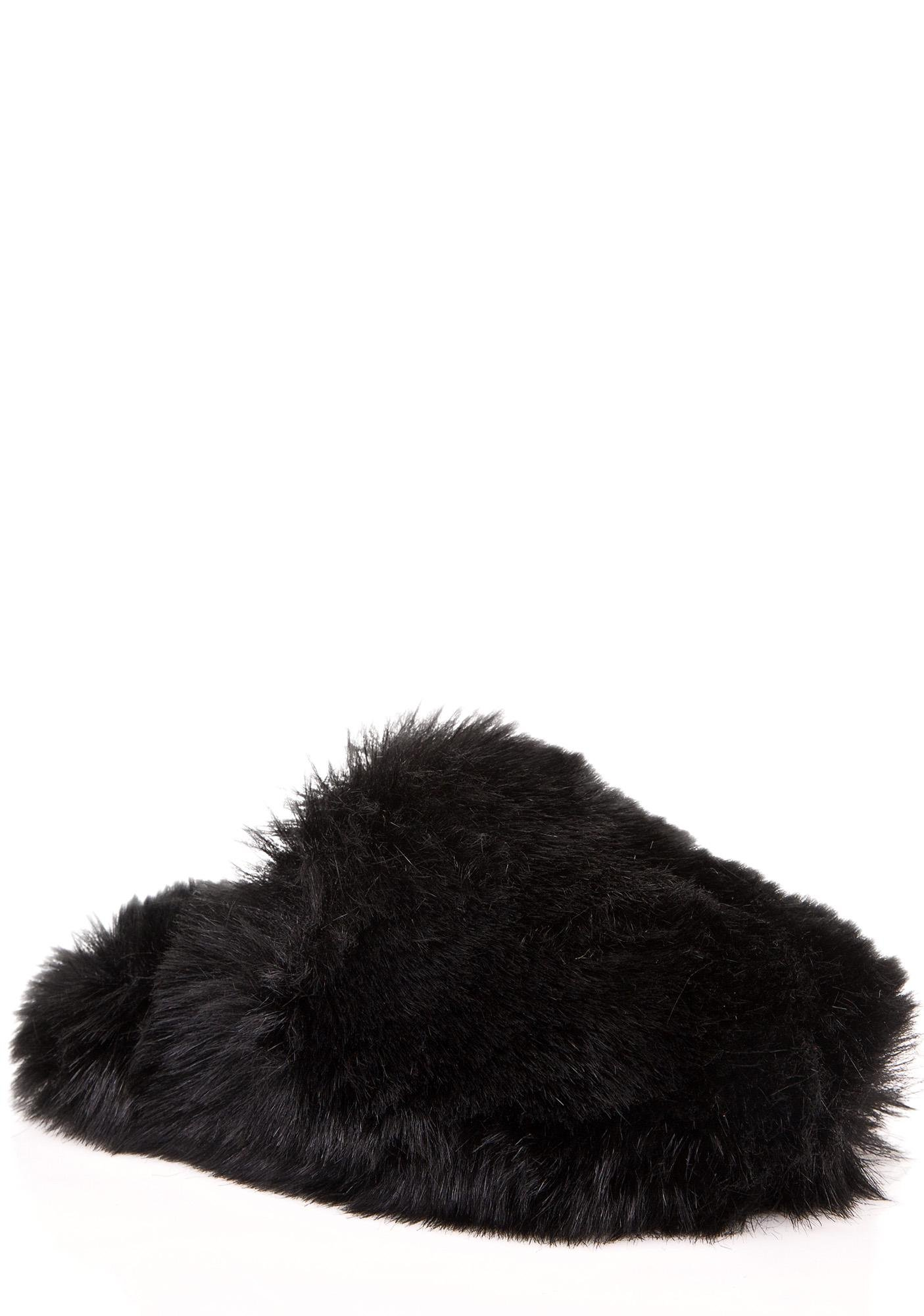 Lust For Life Onyx Furry Slippers