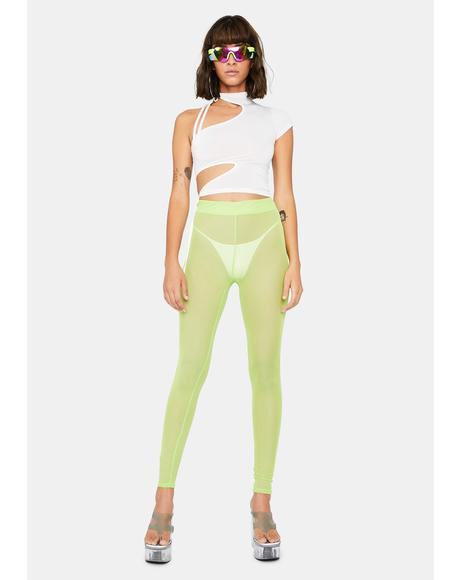 Lime Pure Naughtiness Sheer Leggings