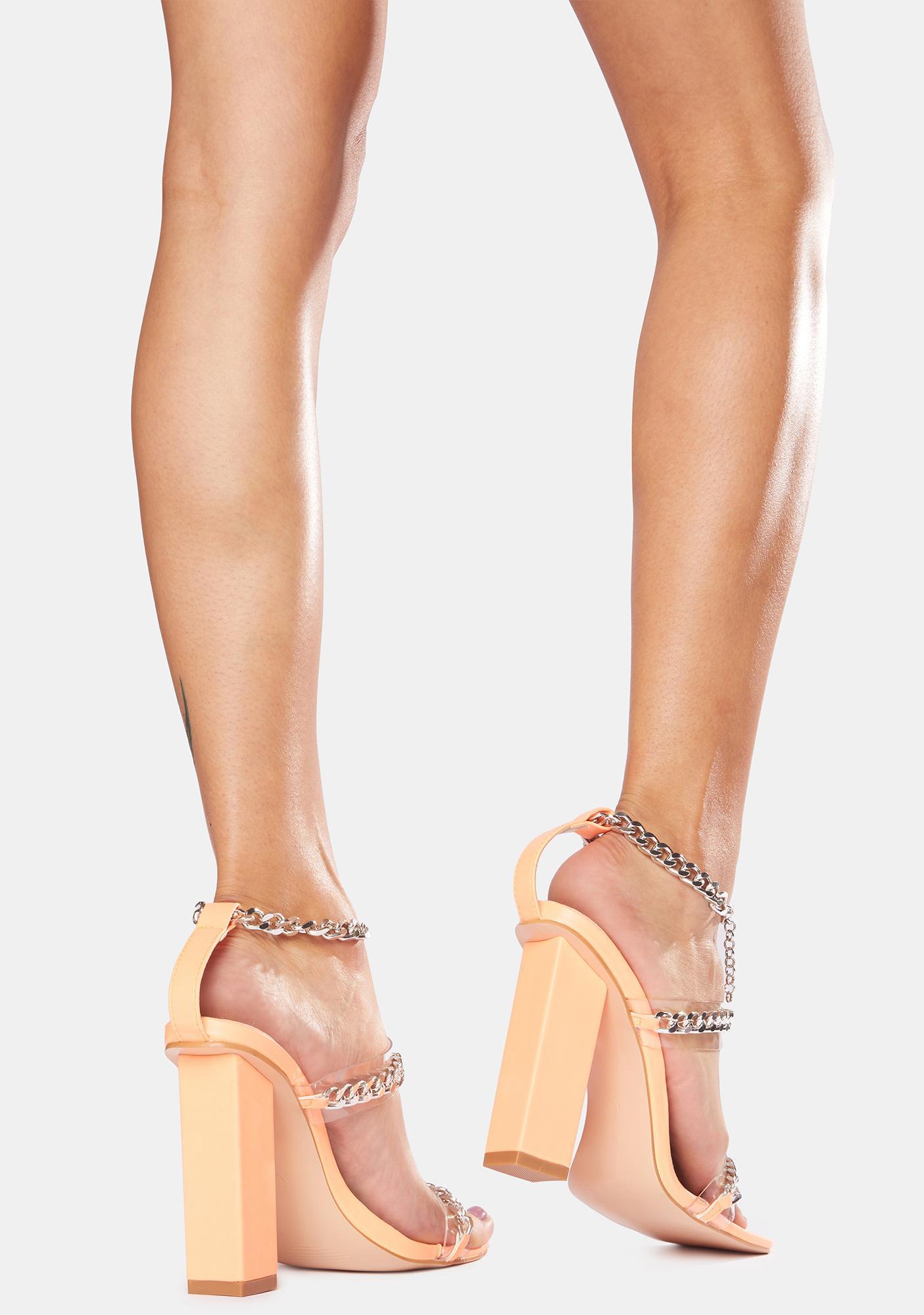 Public Desire Orange Statements Chain Strap Acrylic Heels