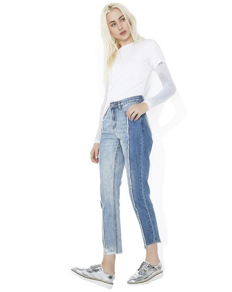 Split Personality Paneled Jeans