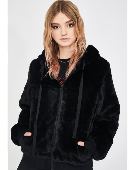 Kitty Faux Fur Hoodie