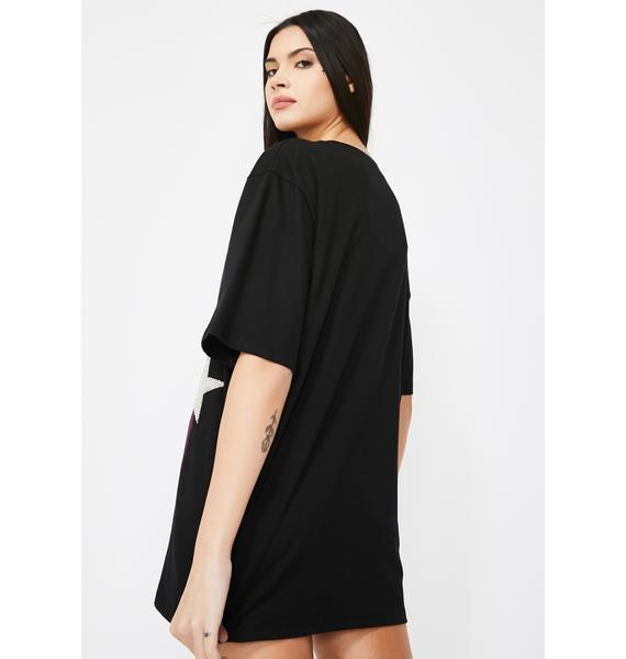 Jaded London Oversized Band T-Shirt With Beaded Star Detail