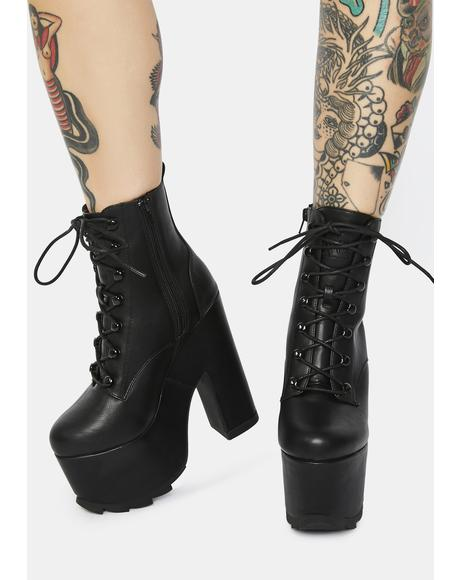 Black Night Terror Platform Boots