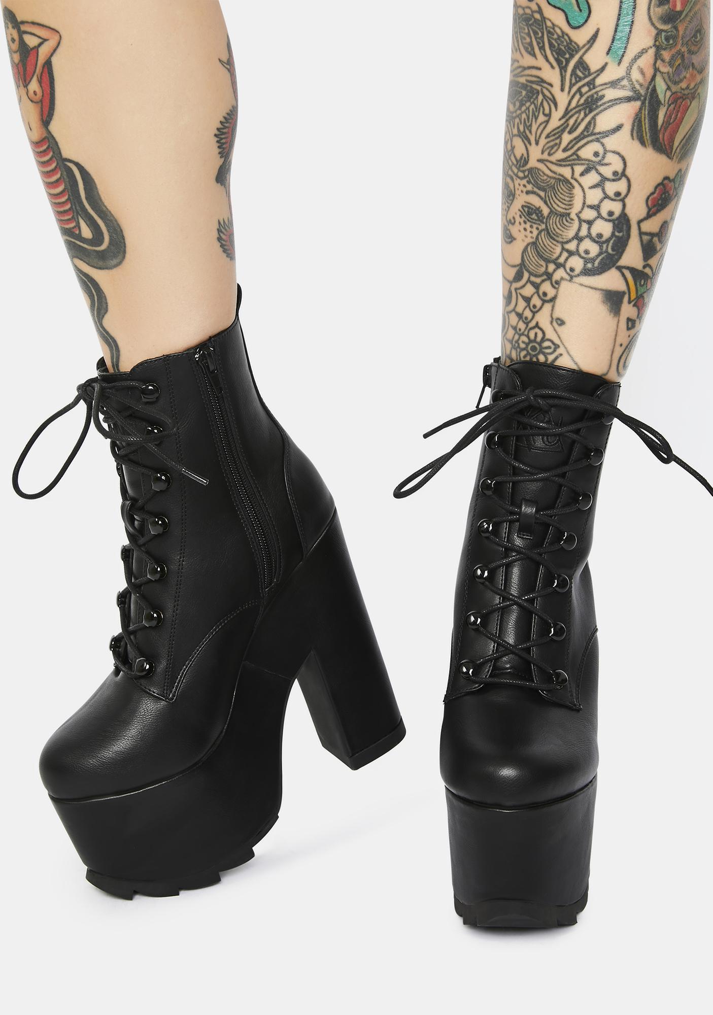 Y.R.U. Black Night Terror Platform Boots