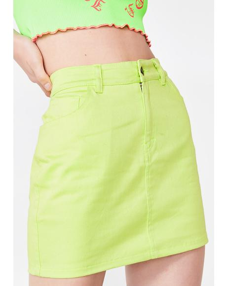 Lime Mini Broomy Skirt