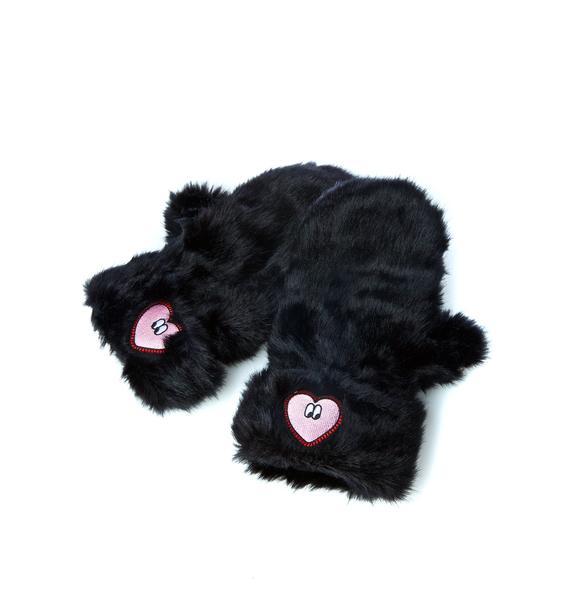 Lazy Oaf Black Heart Mittens