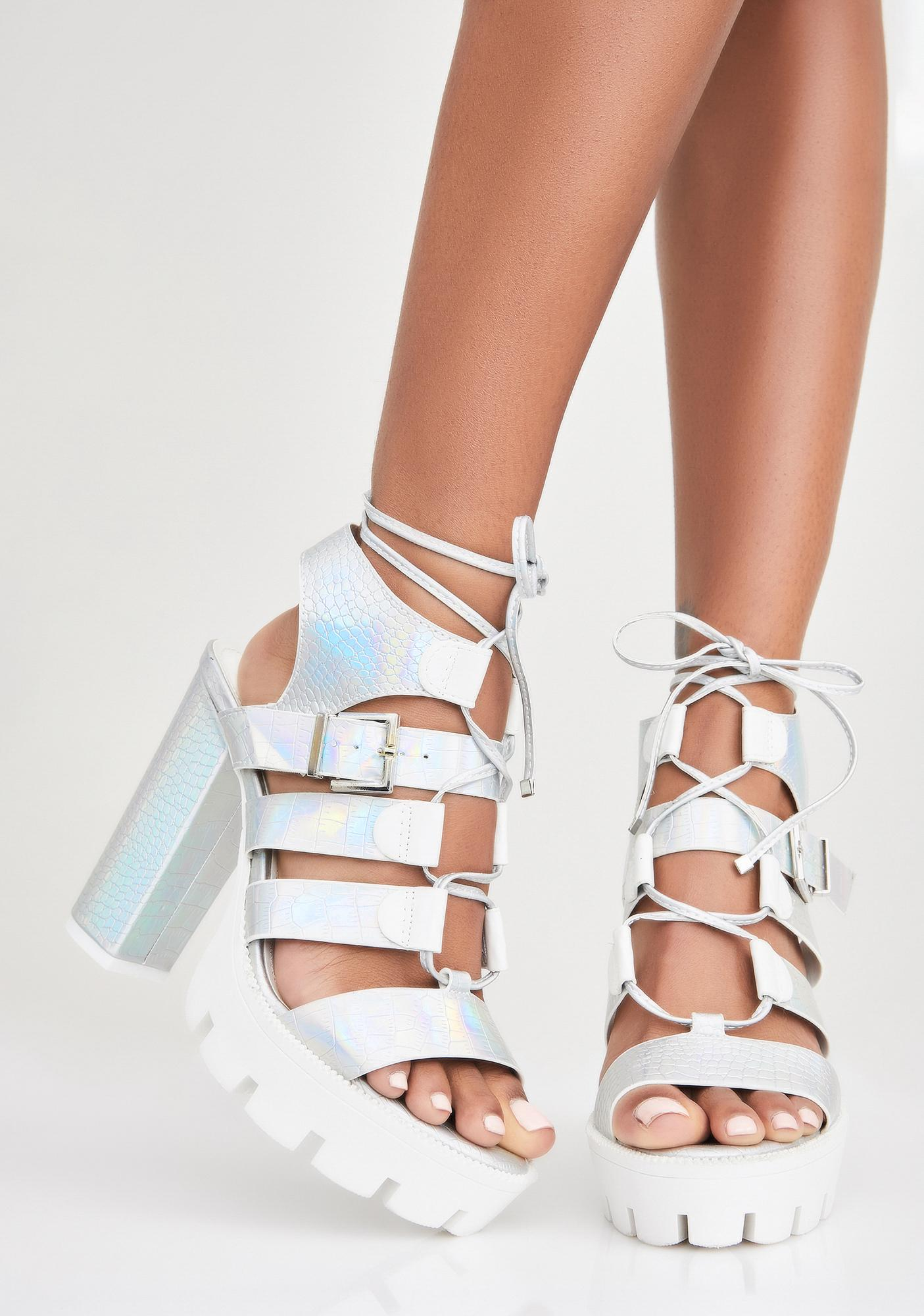 Cosmic Late Arrival Lace-Up Sandals