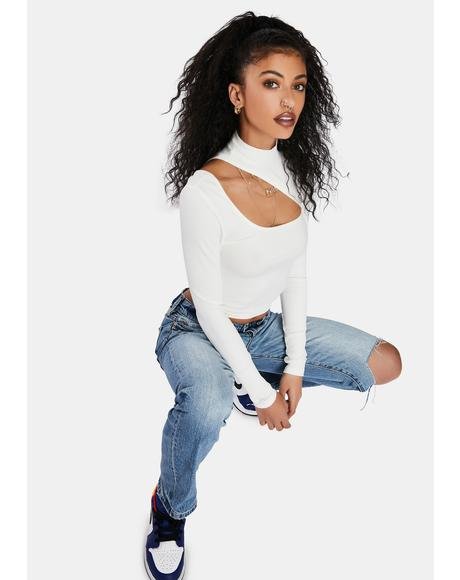 Ivory When It's Over Cut Out Crop Top