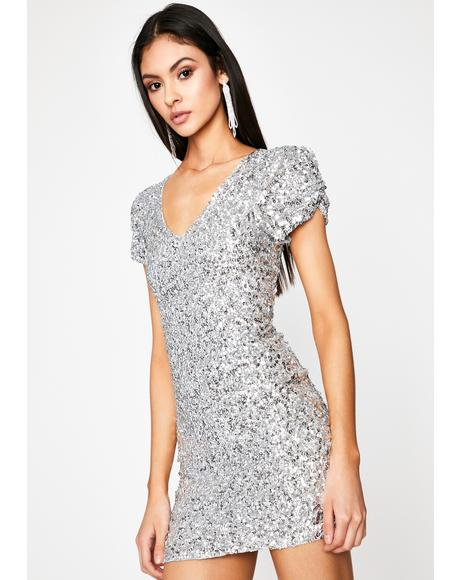 Chrome 80s Prom Night Sequin Dress