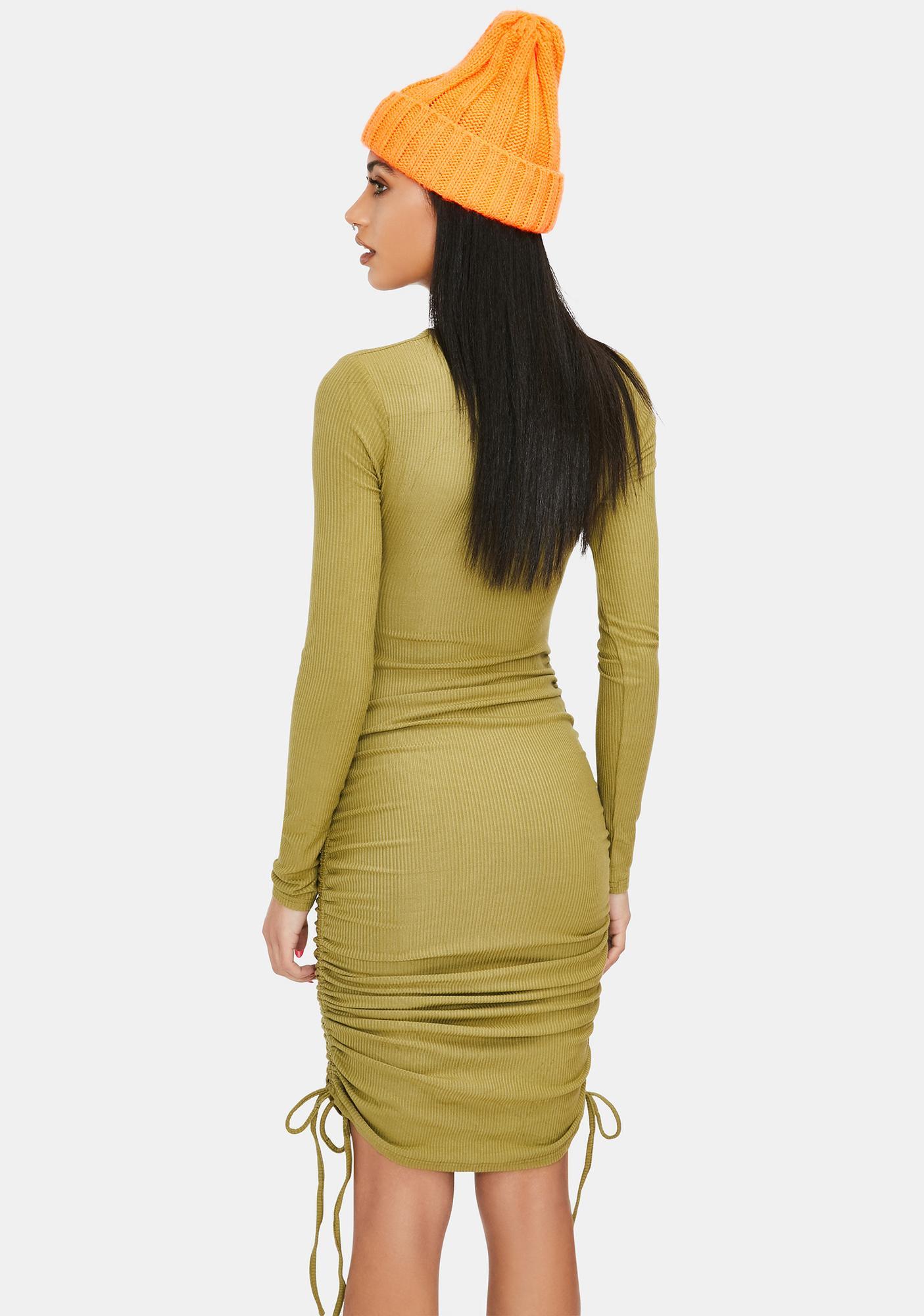 Slight Of Hand Ruched Twist Mini Dress