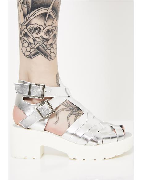 Chrome Swish Swish Woven Sandals