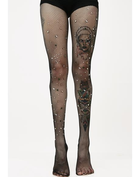 Bejeweled Fishnet Tights