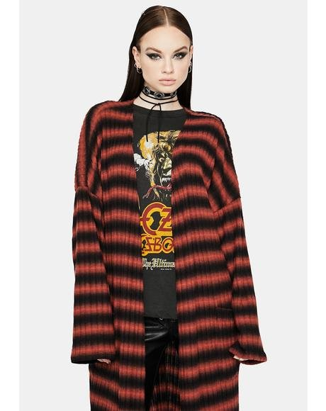 Listen Close Striped Knit Duster