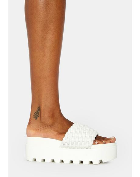 Bliss Totally True Platform Woven Slides