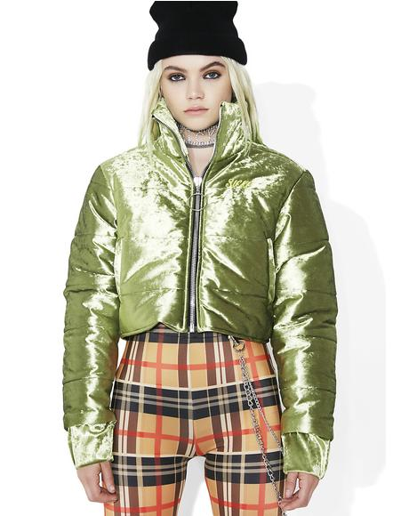 Block Girl Velvet Puffer Jacket
