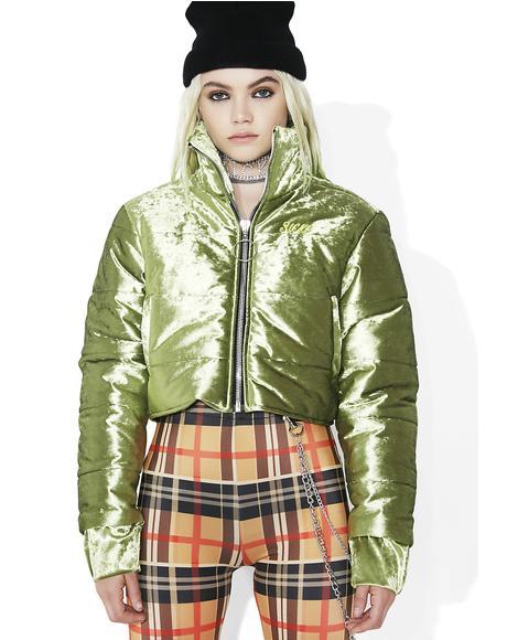 Block Girl Velvet Puffer Jacket