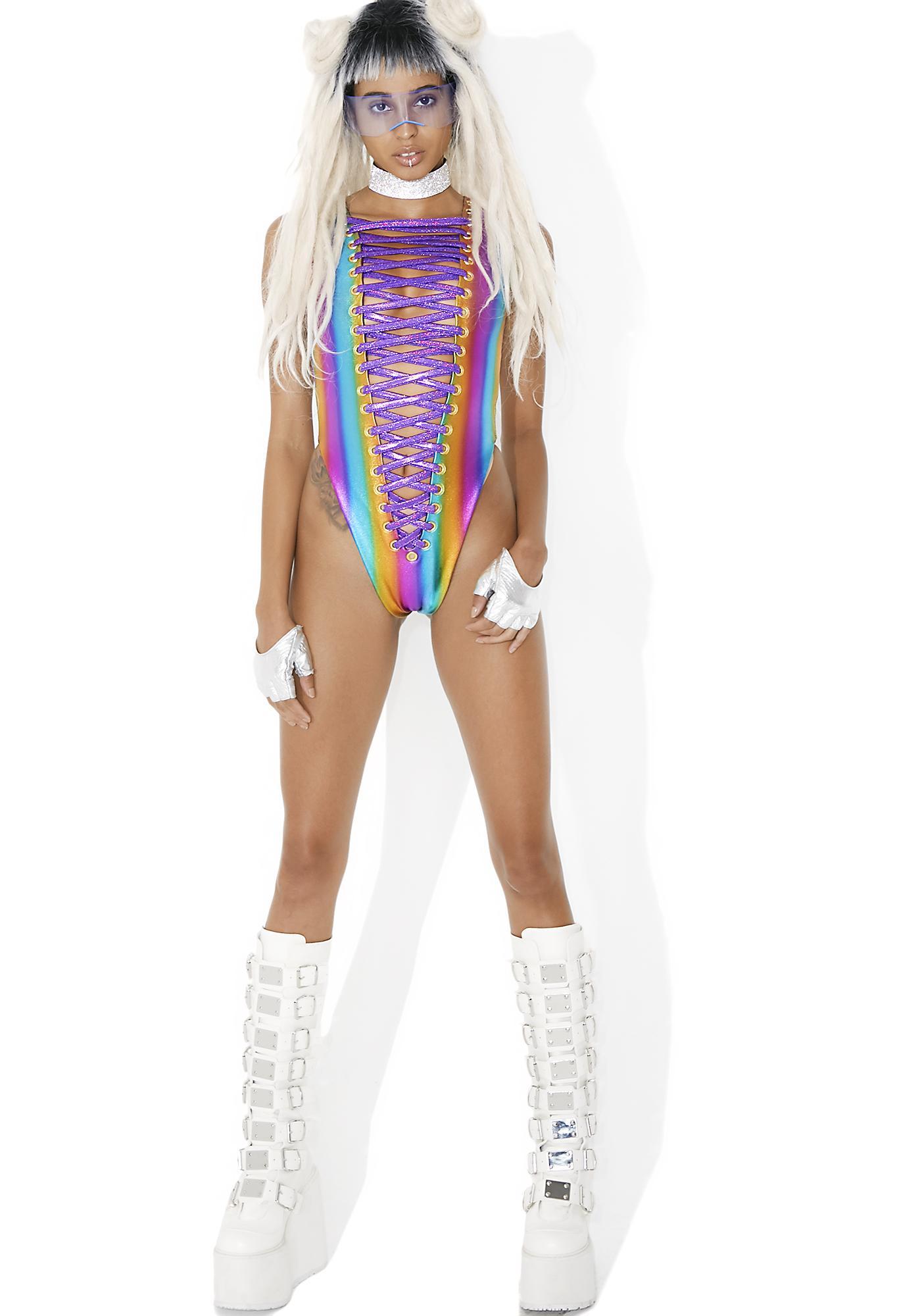 J Valentine Rainbow Galactica Bodysuit