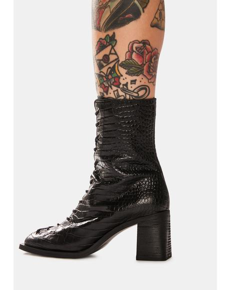 Margaux Leather Square Toe Lace-Up Boots