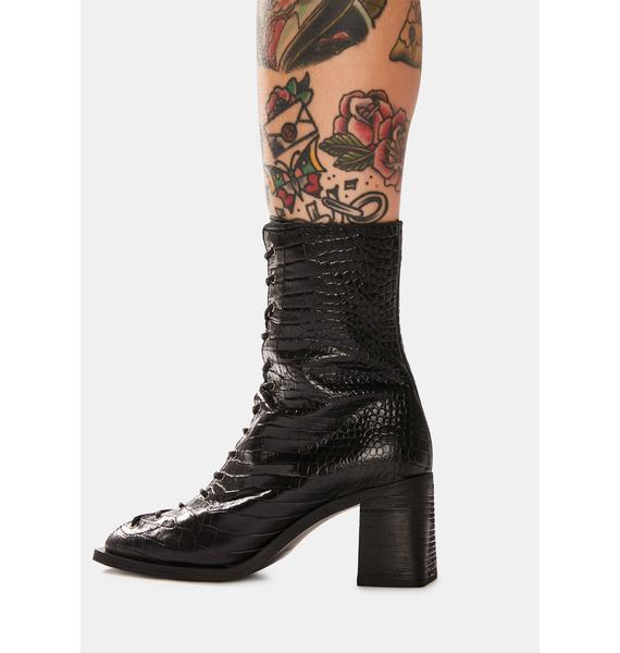 Free People Margaux Leather Square Toe Lace-Up Boots