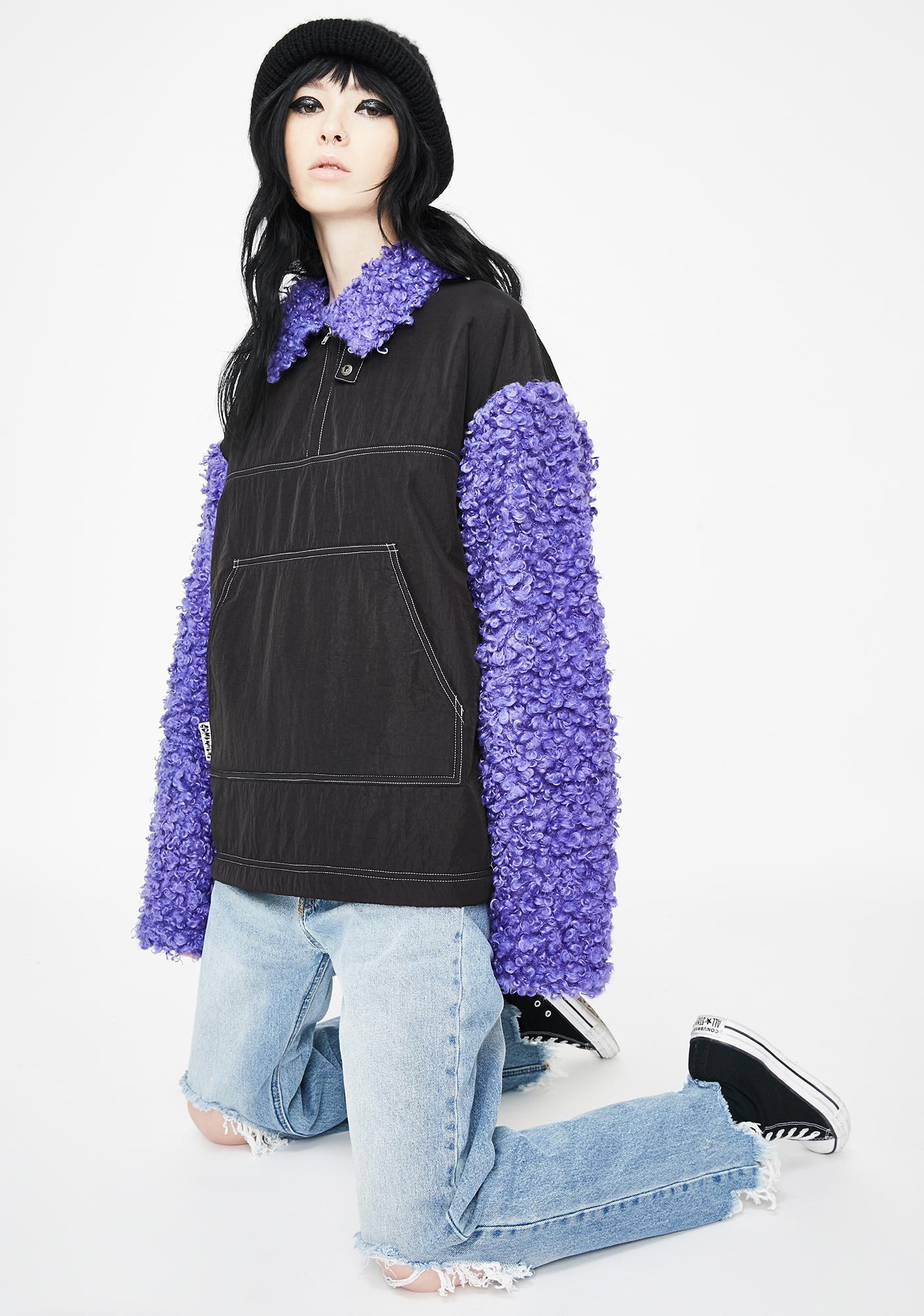Somewhere Nowhere Purple Zipper Sherpa Pullover