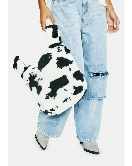 Herd Hype Cow Print Sherpa Tote