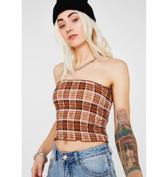 Never On Time Plaid Tube Top