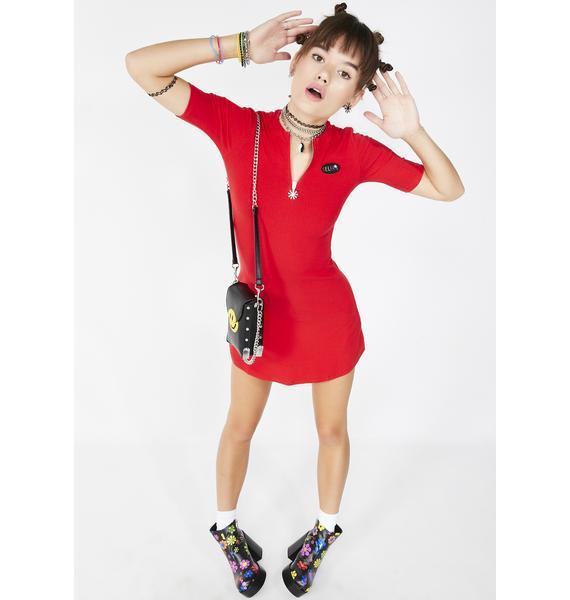 dELiA*s by Dolls Kill Cherry Oh Baby Baby Ribbed Dress
