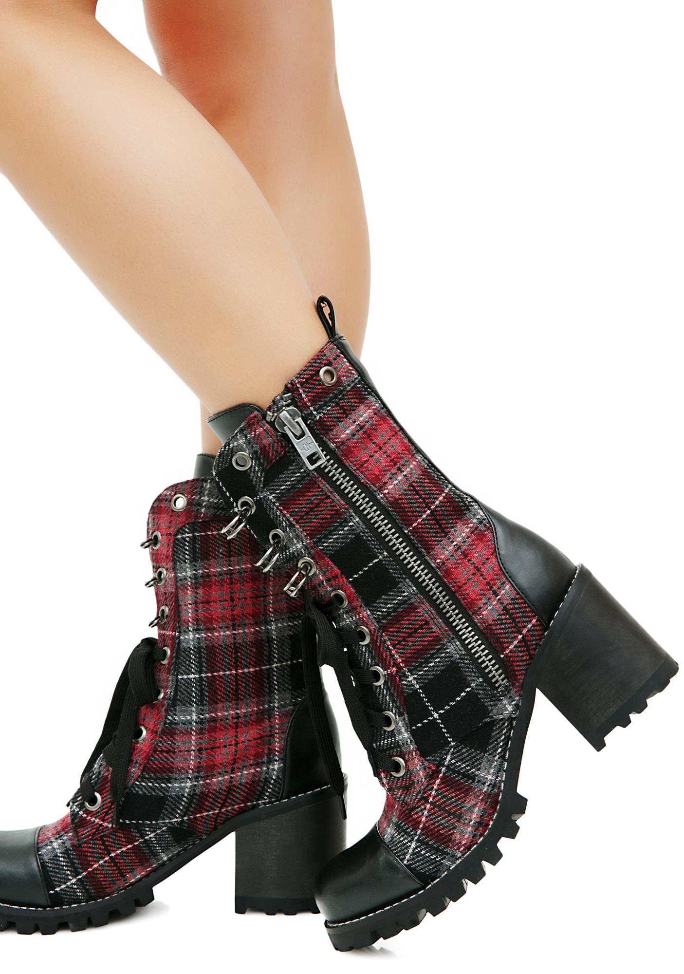 Current Mood Judy Plaid Combat Boots