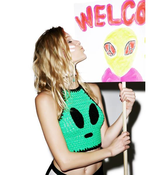 Alien Invader Crochet Crop Top