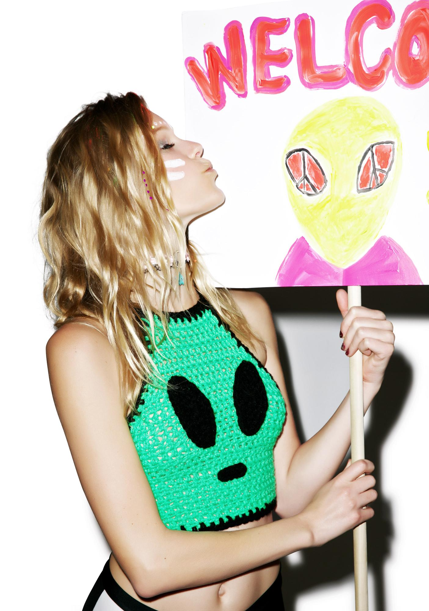 Alien Invader Crochet Crop Top