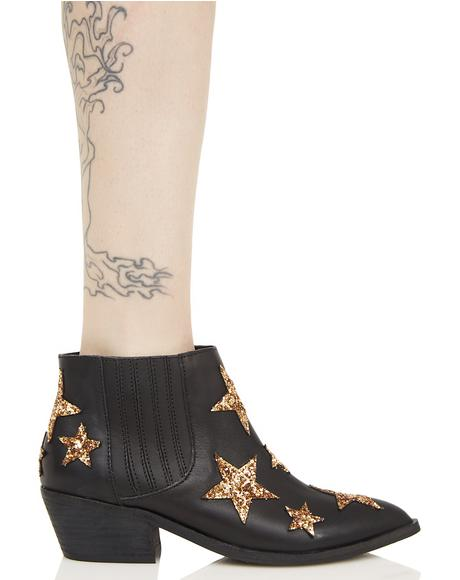 Black Leather Star Ankle Boots