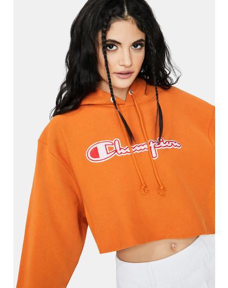 Reverse Weave Cropped C Logo Hoodie