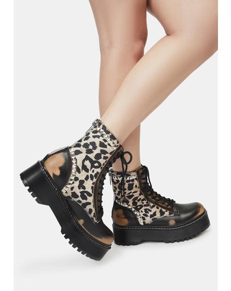 Leopard Studded Avenger Boots