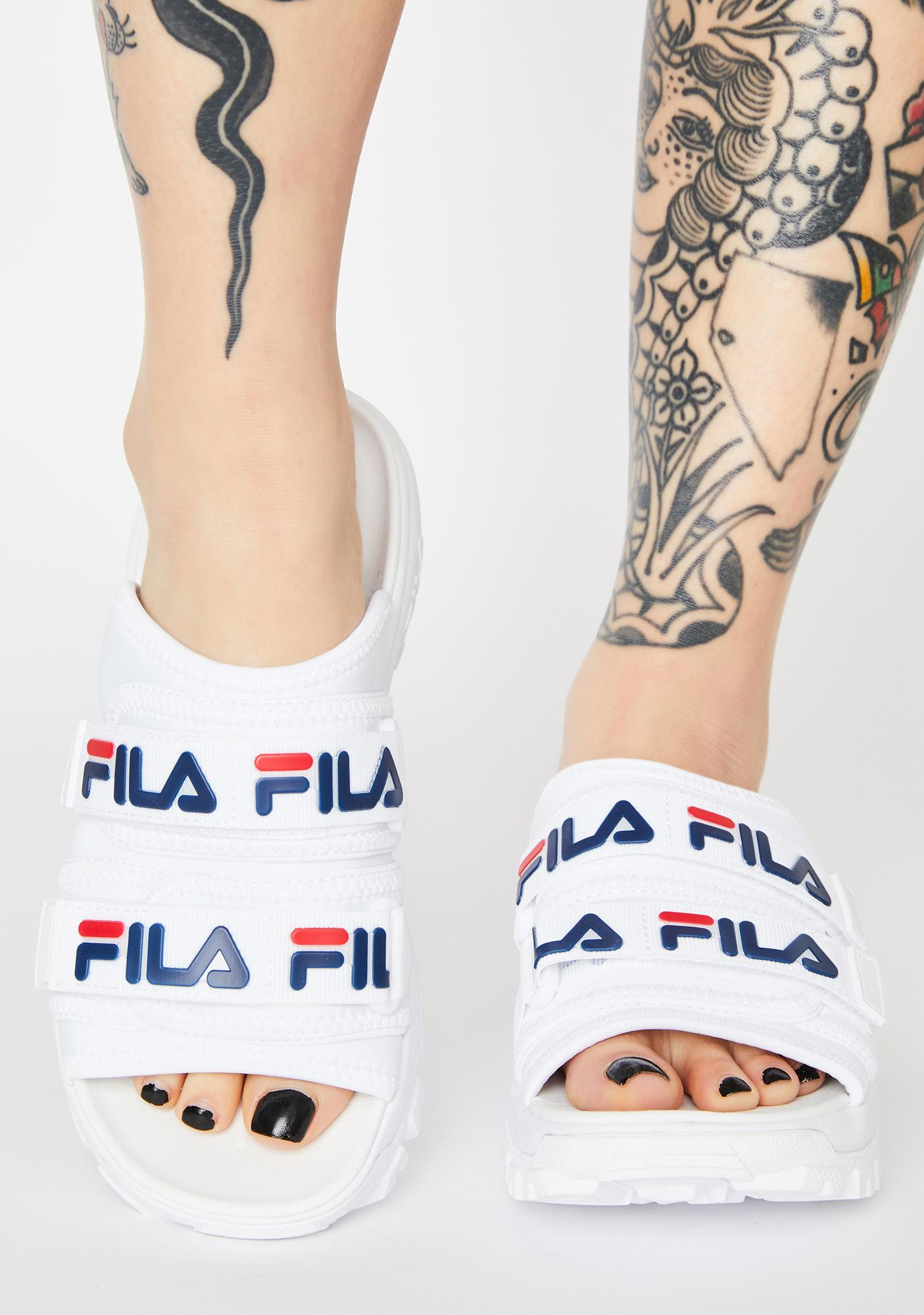 Fila White Outdoor Slides