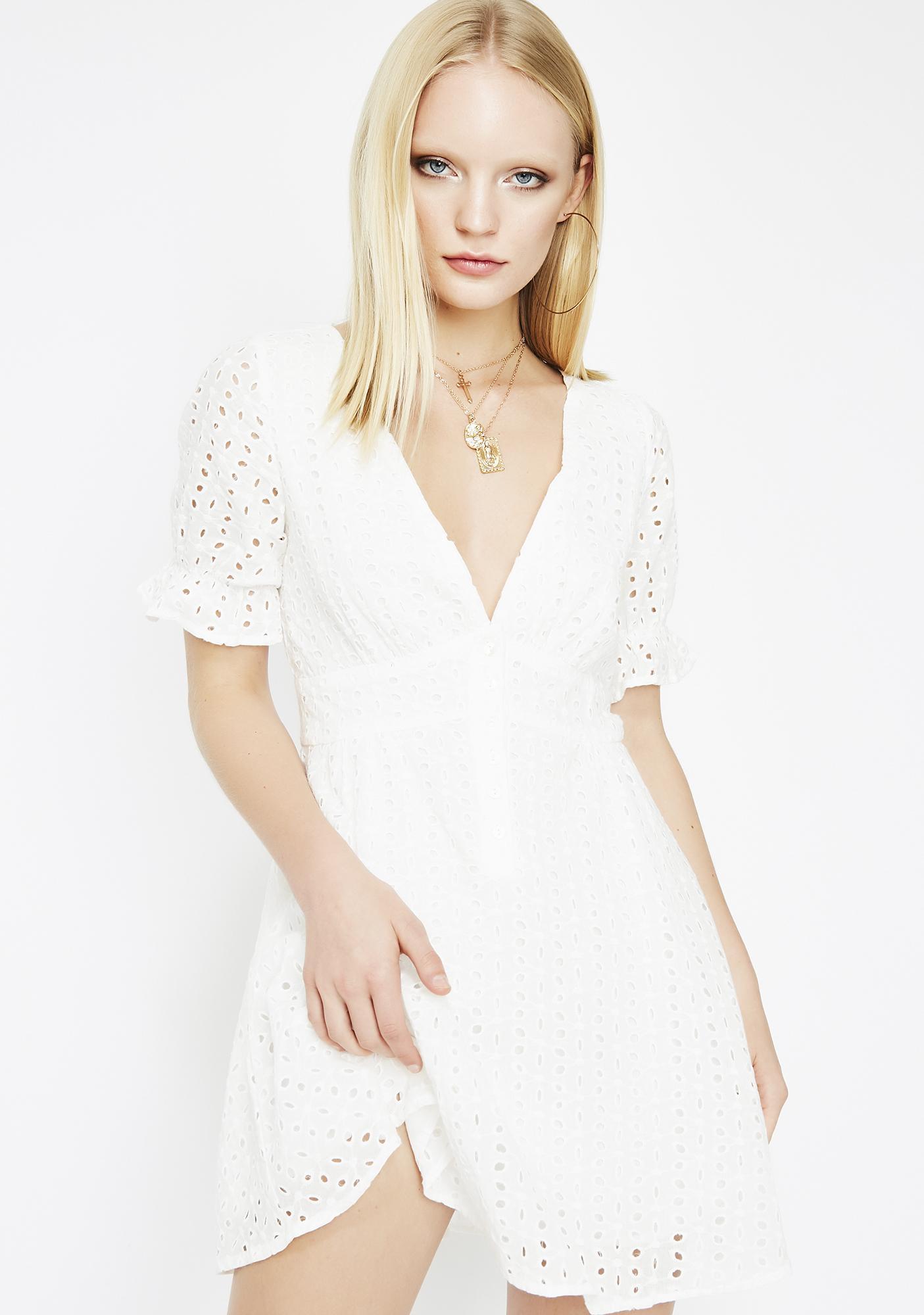 b7114b8426be White Eyelet Mini Dress | Dolls Kill