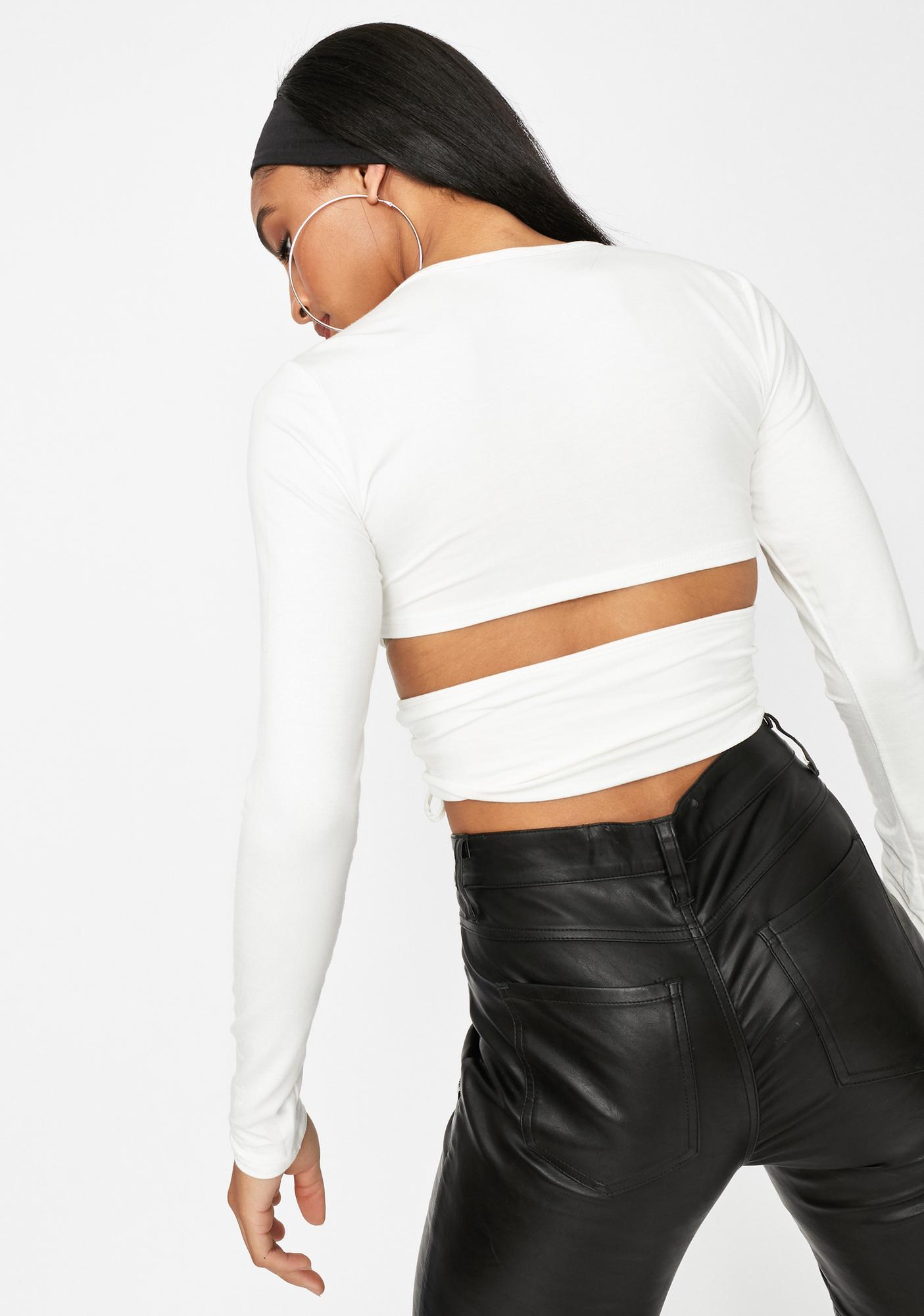 Ivory I'm A Catch Ruched Cutout Crop Top