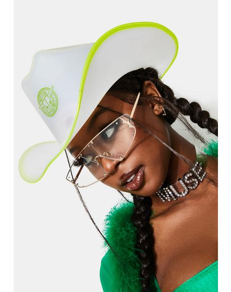 Green Trim Light Up Neon Cowboy Hat