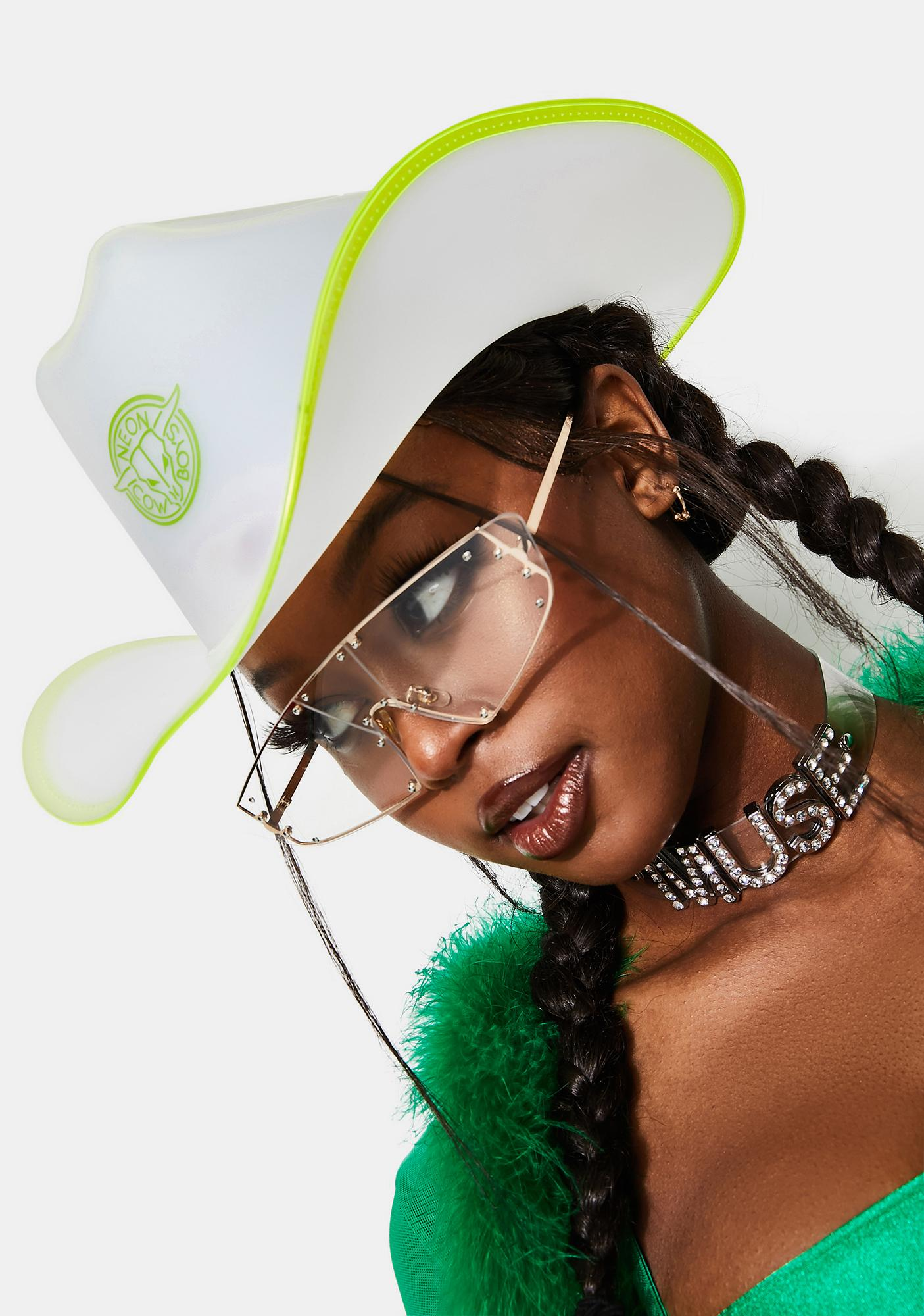 Neon Cowboys Green Trim Light Up Neon Cowboy Hat