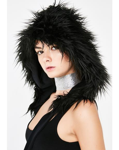 Faux Fur Wrap Hood