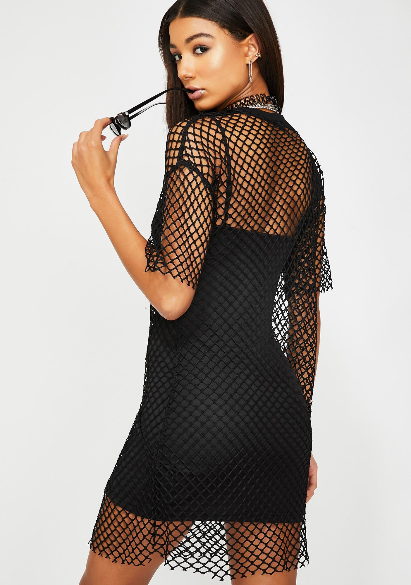 Glamorous Mesh Top T-Shirt Dress
