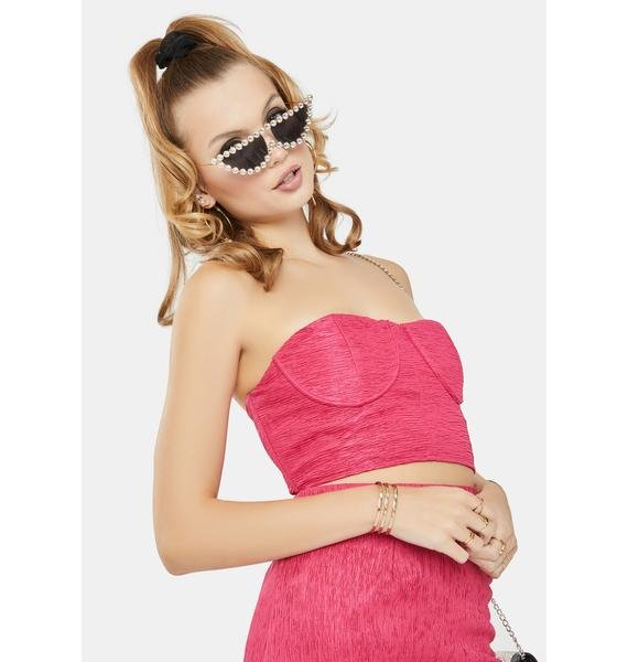 Glamorous Hot Pink Textured Underwire Tube Top