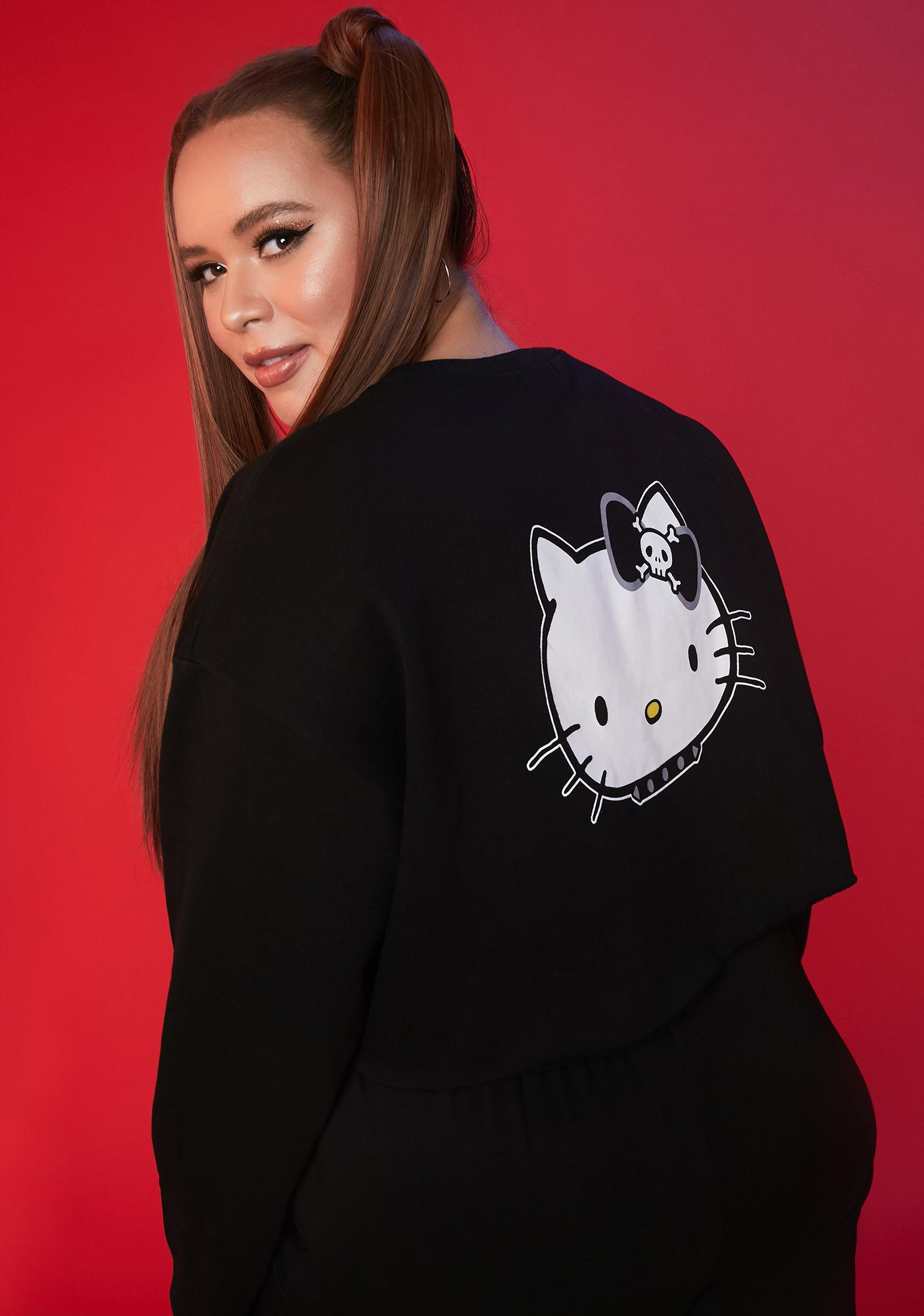 Dolls Kill x Hello Kitty Got Mischief On My Mind Crop Sweatshirt