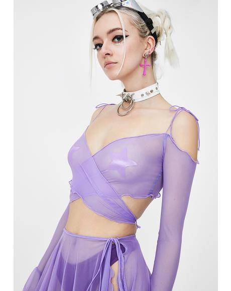 Lilac Faerie Mesh Wrap Top